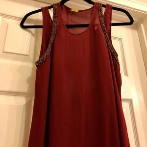 Rebecca Minkoff Maroon Silk Dress with beading